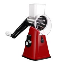 Multifunction Food Slicer, Manual Hand Speedy Safe Vegetables Chopper Cutter with 3 Cylindrical Stainless Steel Blades