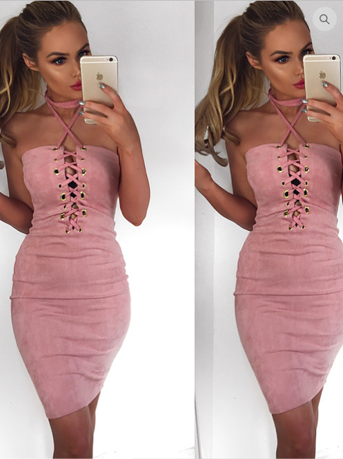 Sexy Crossing Bandage Dress Backless Hollow Out Bodycon Dresses Women Fashion Club Mini Dress Pencil Sleeve Halter Strap Dress
