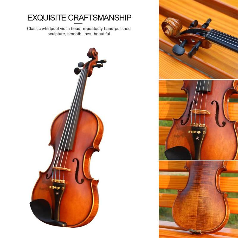 Handmade Antique Matt Violin Spruce Wood with Violin Case Bow Shoulder Rest for Musical Stringed Instrument