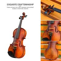 Handmade Antique Matt Violin Spruce Wood with Violin Case Bow Shoulder Rest for Musical Stringed Instrument Lovers Beginners