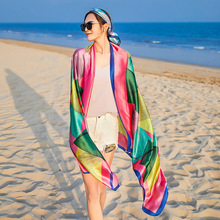 hot deal buy leayh 2019 new fashion simulated silk scarf long style shawls bohemia beach towels print scarves wraps for women best gift