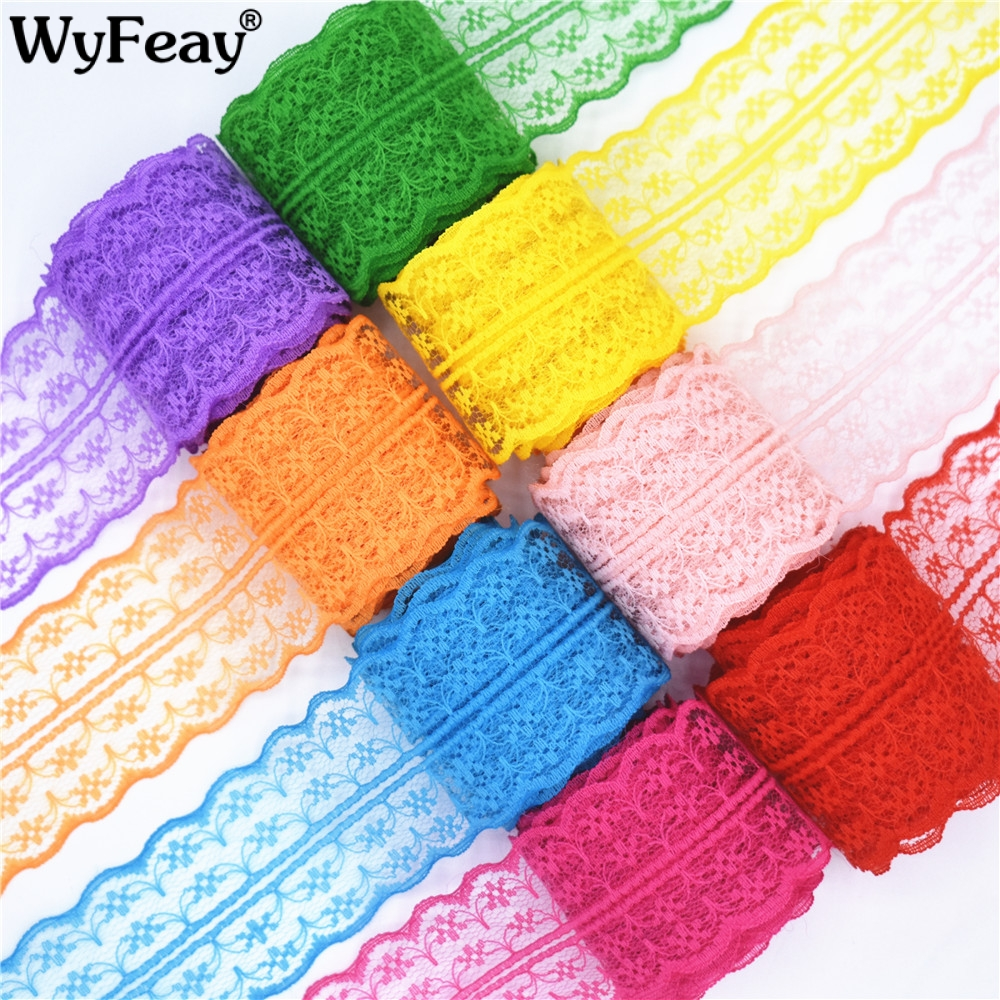 Beautiful 10 yards Lace Ribbon Tape Width 45MM Trim Fabric DIY Embroidered Net Cord For Sewing Decoration african lace fabric in Lace from Home Garden