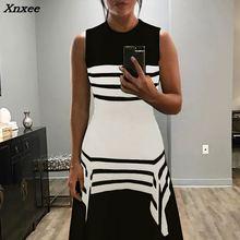 2018 Summer Women Elegant Boho Tunic Party Dress Female Fashion Casual Contrast Stripes Splicing Irregular Hem Dress Xnxee