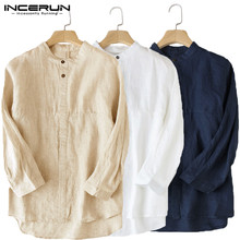 INCERUN Chinese Style Mens Shirt Stand Collar 3/4 Sleeve Cotton Linen Button Loose Tops Vintage Solid Color Shirts Men Plus Size