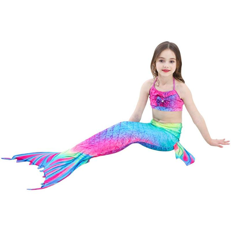 3pcs Girls Fish Tail Princess Swimsuit Bikini Set Children Cute Cosplay Costume Swimming Suit Summer Beachwear Bathing Suit(China)