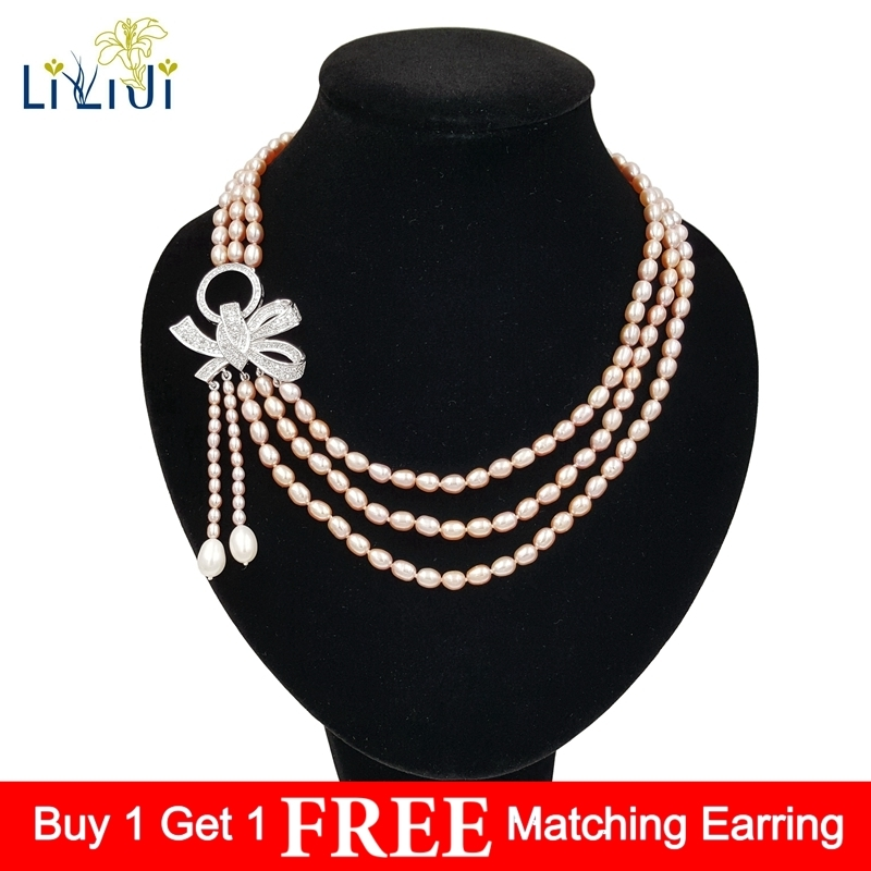 LiiJi Unique High Luster Purple Pink Color Real Freshwater Pearl 3 Rows Bowknot Elegant Necklace 45cm For Women Weding elegant rhinestoned bowknot three layered faux pearl necklace and bracelet for women