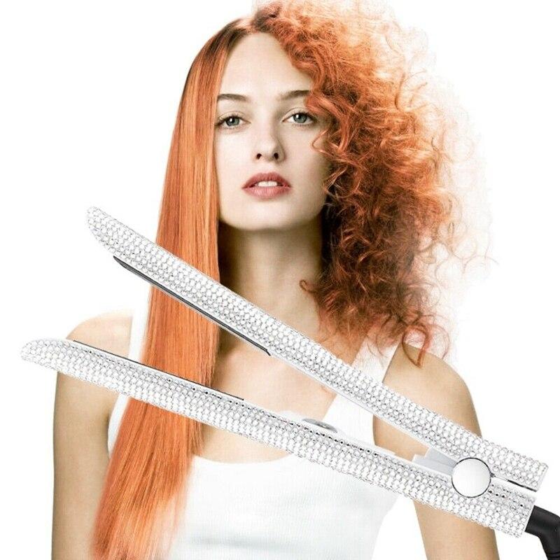 Cristal étincelant fait à la main diamant strass Lcd affichage numérique gemmes plates cheveux droite ue/US/UK Plug