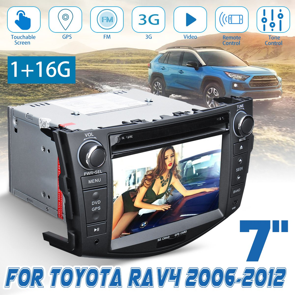 7 Inch 2 Din DVD Player 3G GPS NAV Stereo Bluetooth Radio Indash For Toyota RAV4 2006 2007 2008 2009 2010 2012