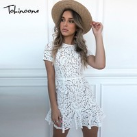 Tobinoone 2019 New Backless Sexy Lace Dress Women Short Sleeve O Neck Sheath Summer Dress Mesh Lace up Red Elegant Party Dresses