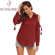 Brand Womens Tops Blouse Shirt Summer Hollow Out Long Sleeve Shoulder Tassel Decor Slim Feminine Top Clearance