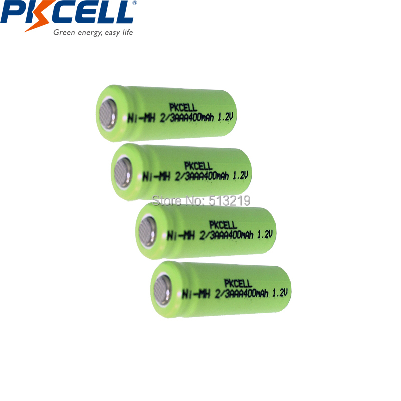 4PCS PKCELL 2/3AAA 400mah 1.2v NI-MH rechargeable battery 2/3 <font><b>aaa</b></font> batteries flat top for Toys Wireless Mouse Game Handle image