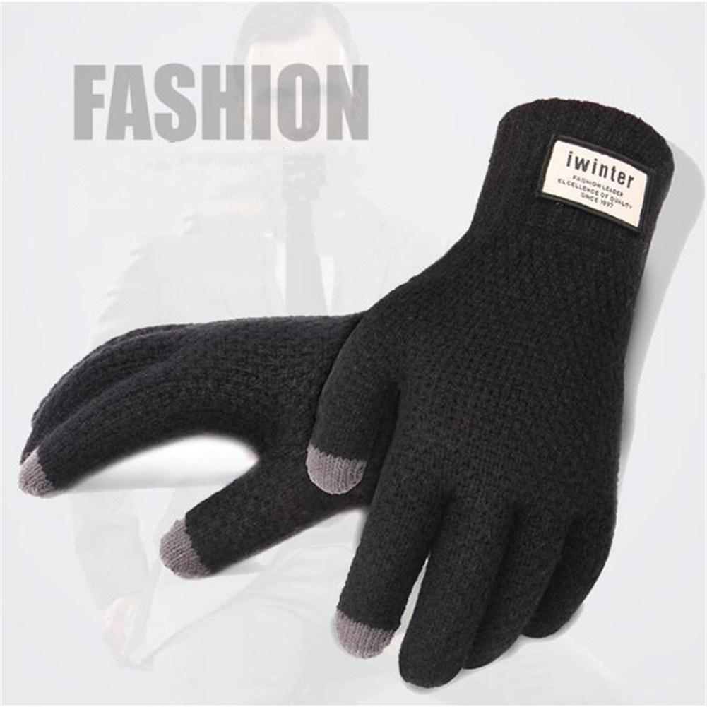 Mounchain Winter Autumn Men Knitted Skiing Gloves Touch Screen Thicken Warm Soft Solid Color Gloves