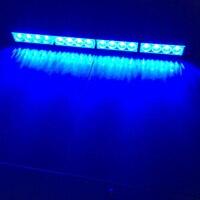 12V Flash Strobe Lamp 16 LED Car Warning Light Bar Blue On/Off Switch