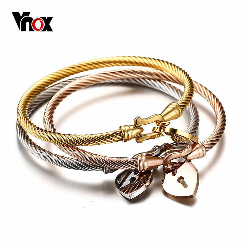Vnox Cuff Bracelets Bangle for Women Stainless Steel Wire Gold / Silver Color Elegant Female Jewelry