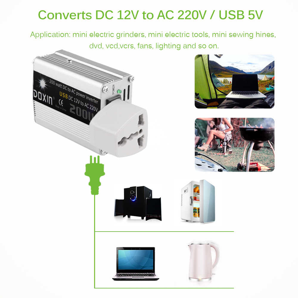 200W 12V DC To AC 220V Car Auto Power Inverter Converter Adapter Adaptor USB Car-Styling Car Charger