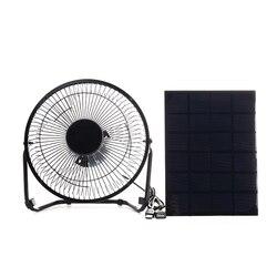 Gorąca sprzedaż czarny Panel słoneczny zasilany + USB 5W metalowy wentylator 8 Cal wentylacja chłodząca wentylator samochodowy na zewnątrz podróży wędkowanie H