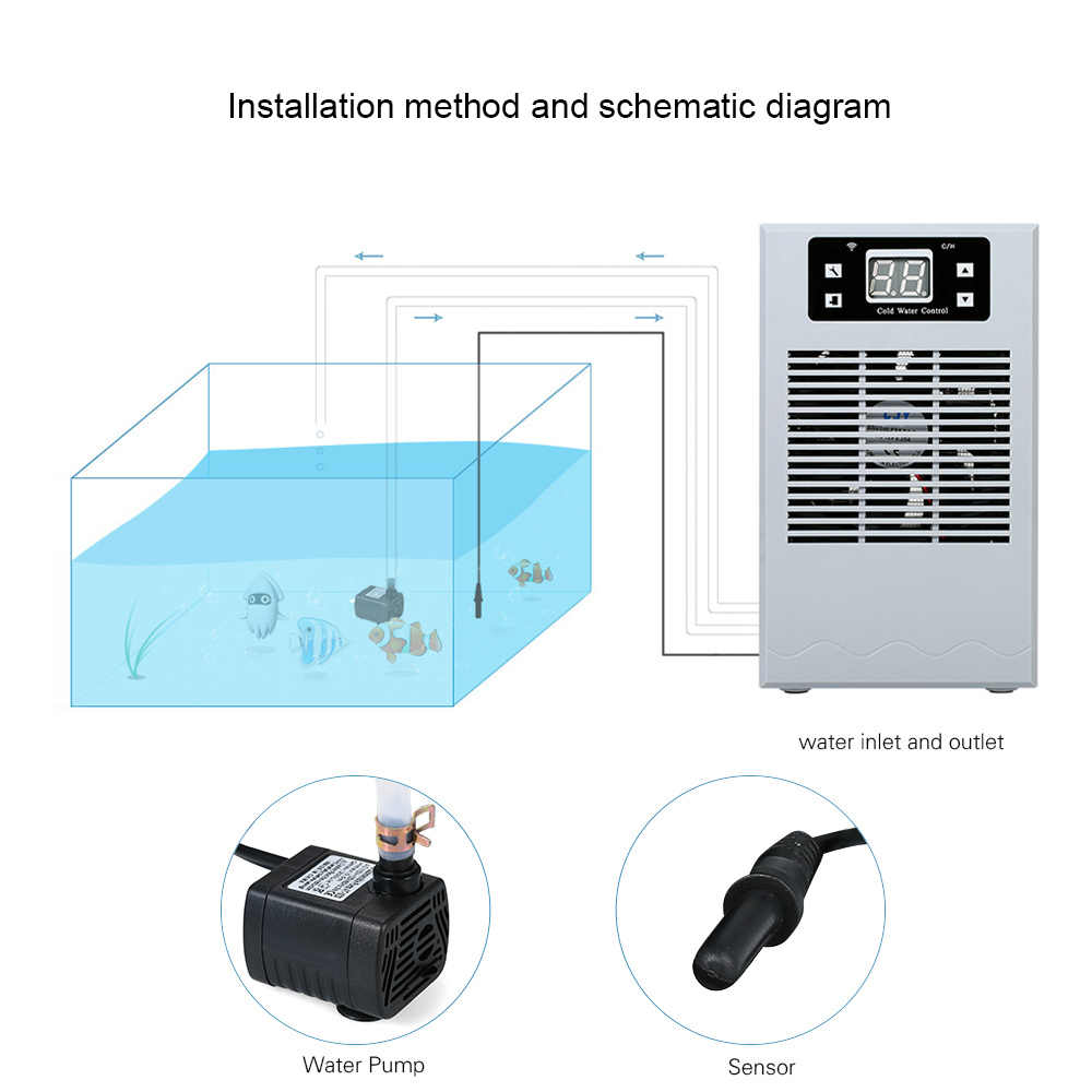 20l wireless control fish tank water cooling heating machine aquarium temperature controller electronic water cooler thermostat [ 1000 x 1000 Pixel ]