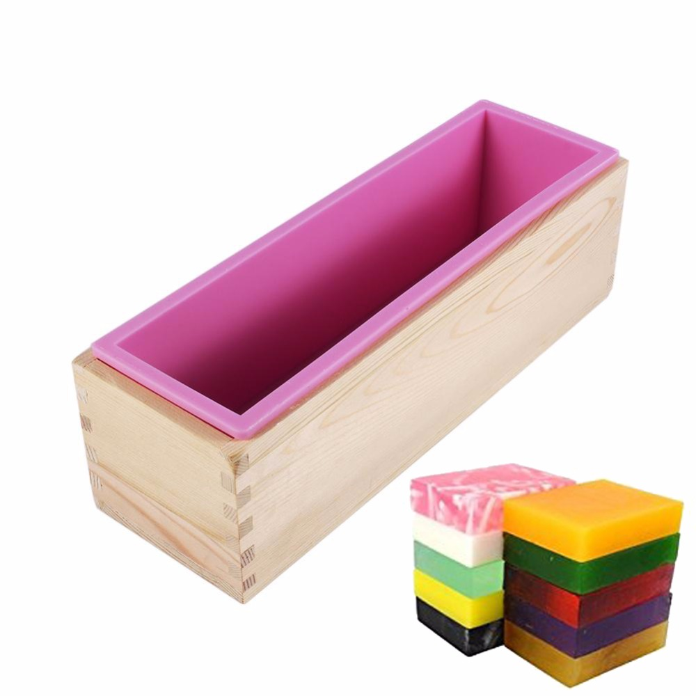 Rectangular Wooden Soap Mold With Silicone Liner Cover Loaf Soap Mold Tool DIY Soap Candle Mold 1200g Mold Making Tool