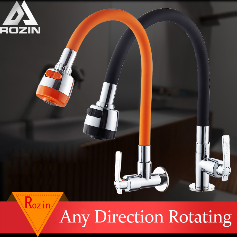Rozin Flexible Direction Rotating Kitchen Faucet Deck Mount Cold Water Faucet Colorful Single Handle One Hole Tap Free Shipping
