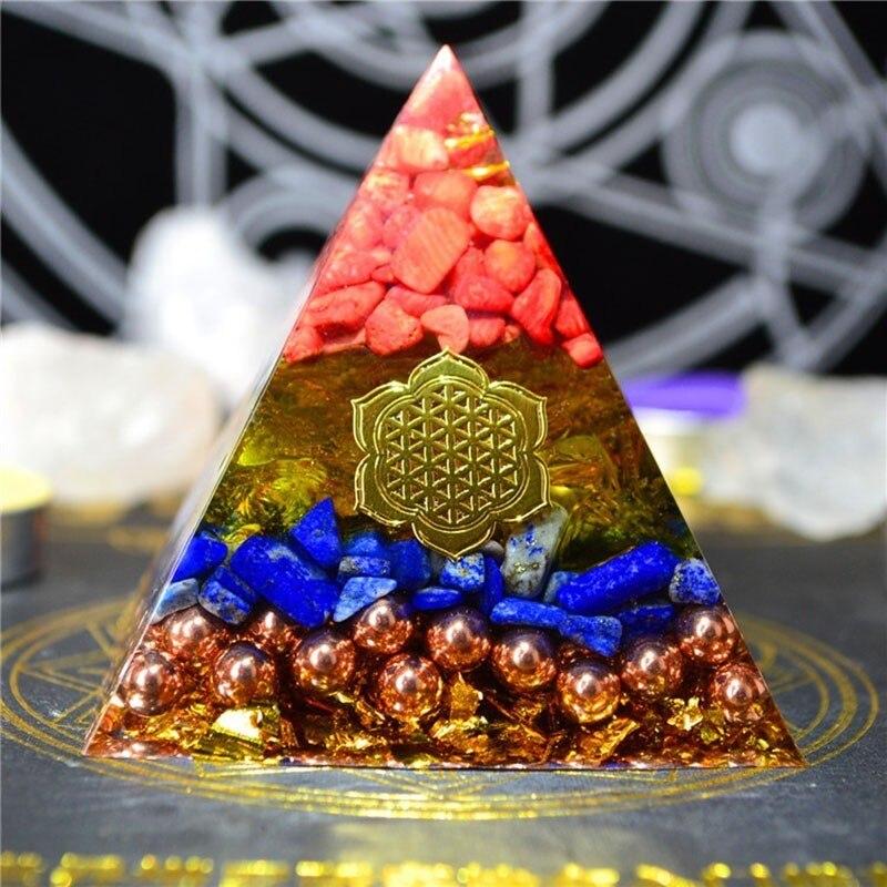 Gathering Fortune Orgonite Pyramid Reiki Feng Shui Decoration Crystal Rune Orgone Accumulator Resin Decorative Craft Jewelry