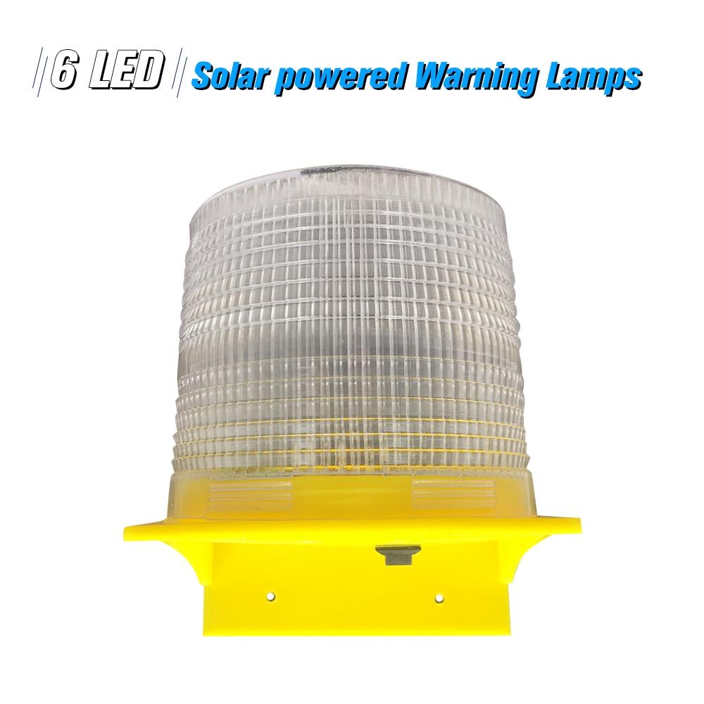 Solar Warning Lights 6pcs Leds White Light Solar-powered Warning Lamps Traffic Warning Lights/tower Crane Light/marine Lamp Security Alarm