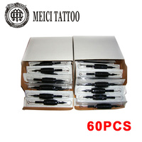 60 PCS Disposable Tattoo Machine Tubes 3/4 Grips Tips with Needles Assorted for Tattoo Gun Work Mix Sizes Kits Black