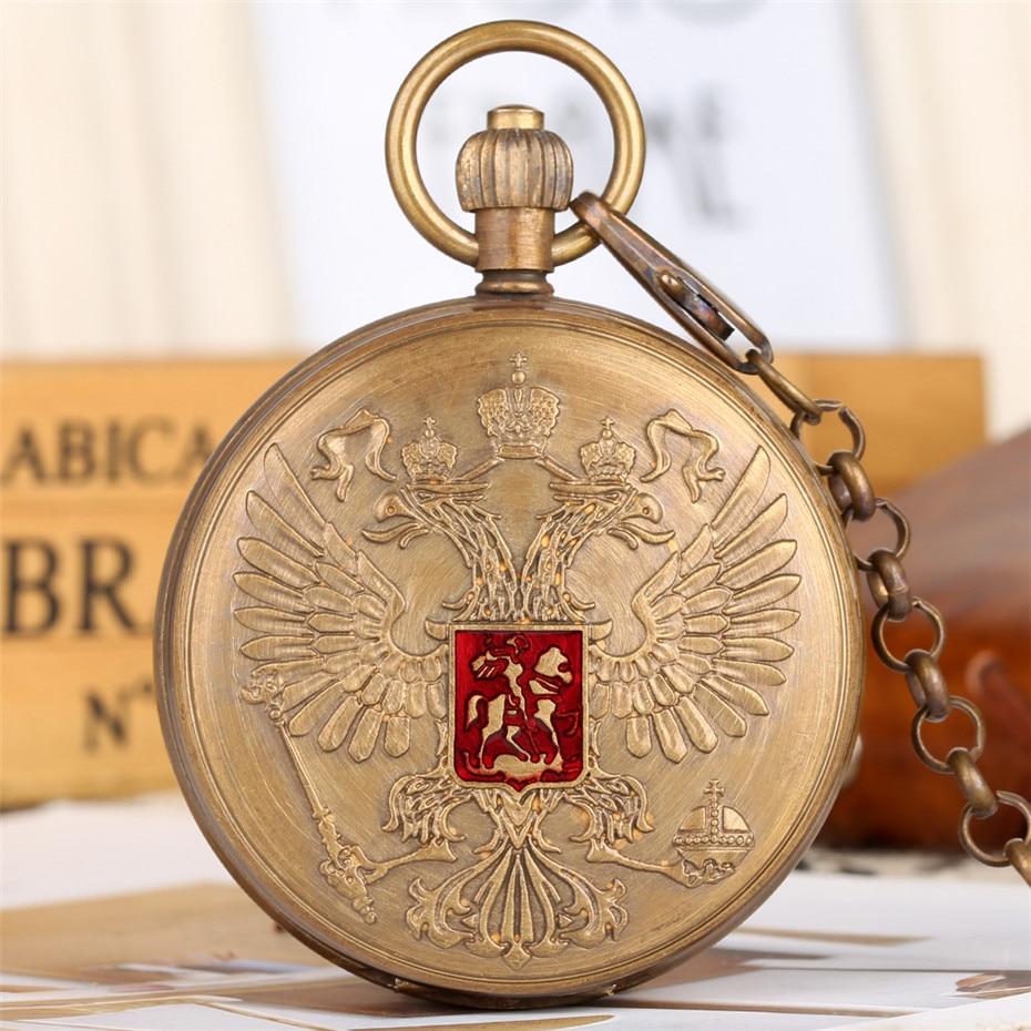 Rétro Souvenir russe emblème National thème pur cuivre mécanique montre de poche Double chasseur Tourbillon montre de poche reloj