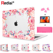 цена Redlai New Air 13 inch Case A1932 2019 Pro 13 15 Touch bar Floral Print Hard Case Shell For MacBook 12