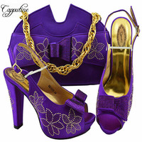 Capputine Hot Selling Italian Rhinestone Woman Green Shoes And Bag Set For Wedding African Women Pumps 7CM Shoes And Bag Sets