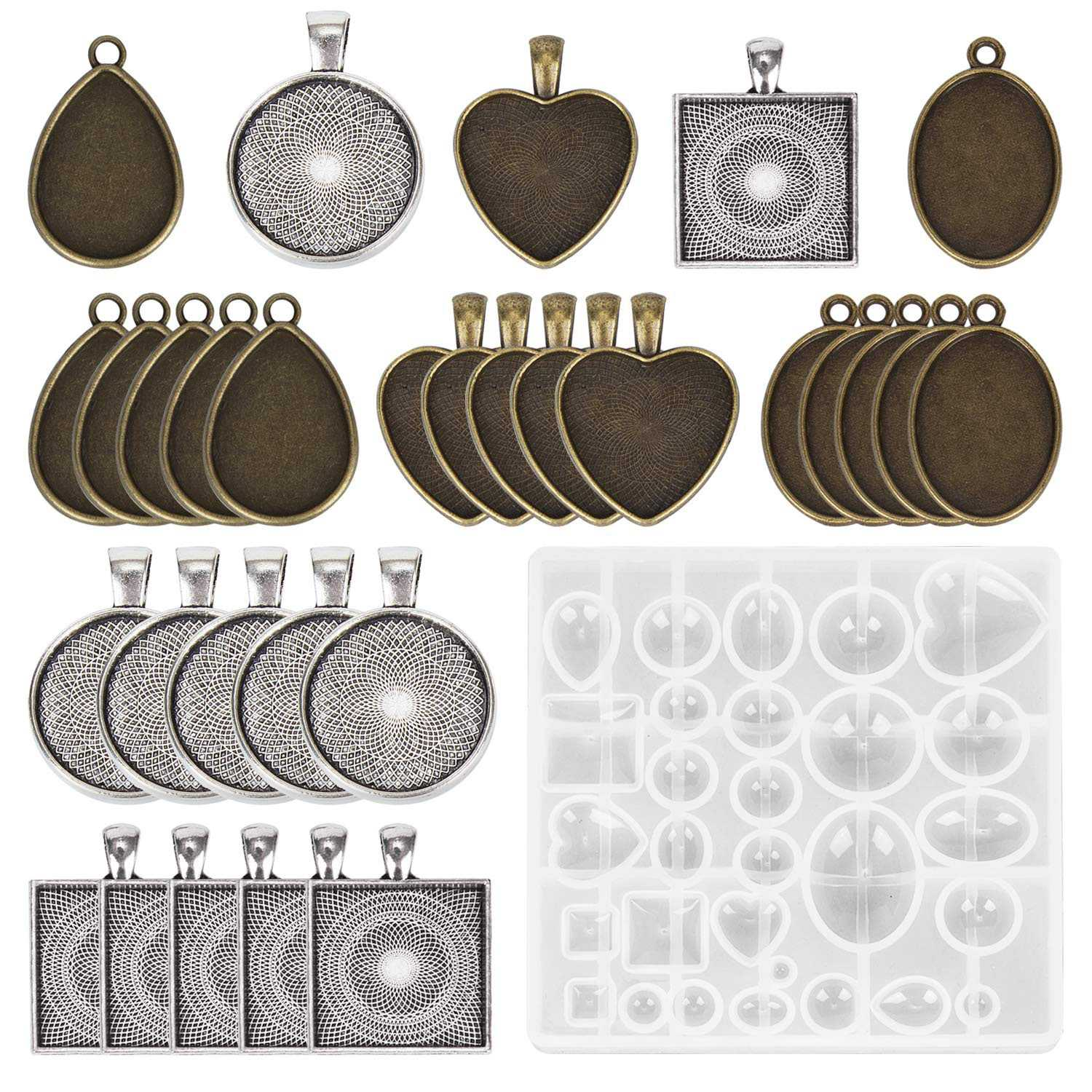 30 Pieces 5 Styles Pendant Trays Round & Square Heart & Teardrop & Oval,And 1 Pcs Jewelry Casting Molds For Pendant Crafting D