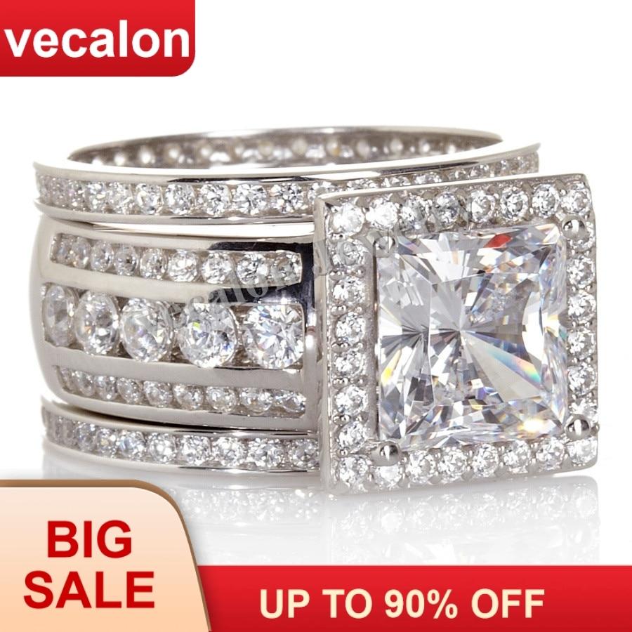 Princess cut 3ct Clear AAAAA CZ White Gold Filled Women Wedding band Ring set