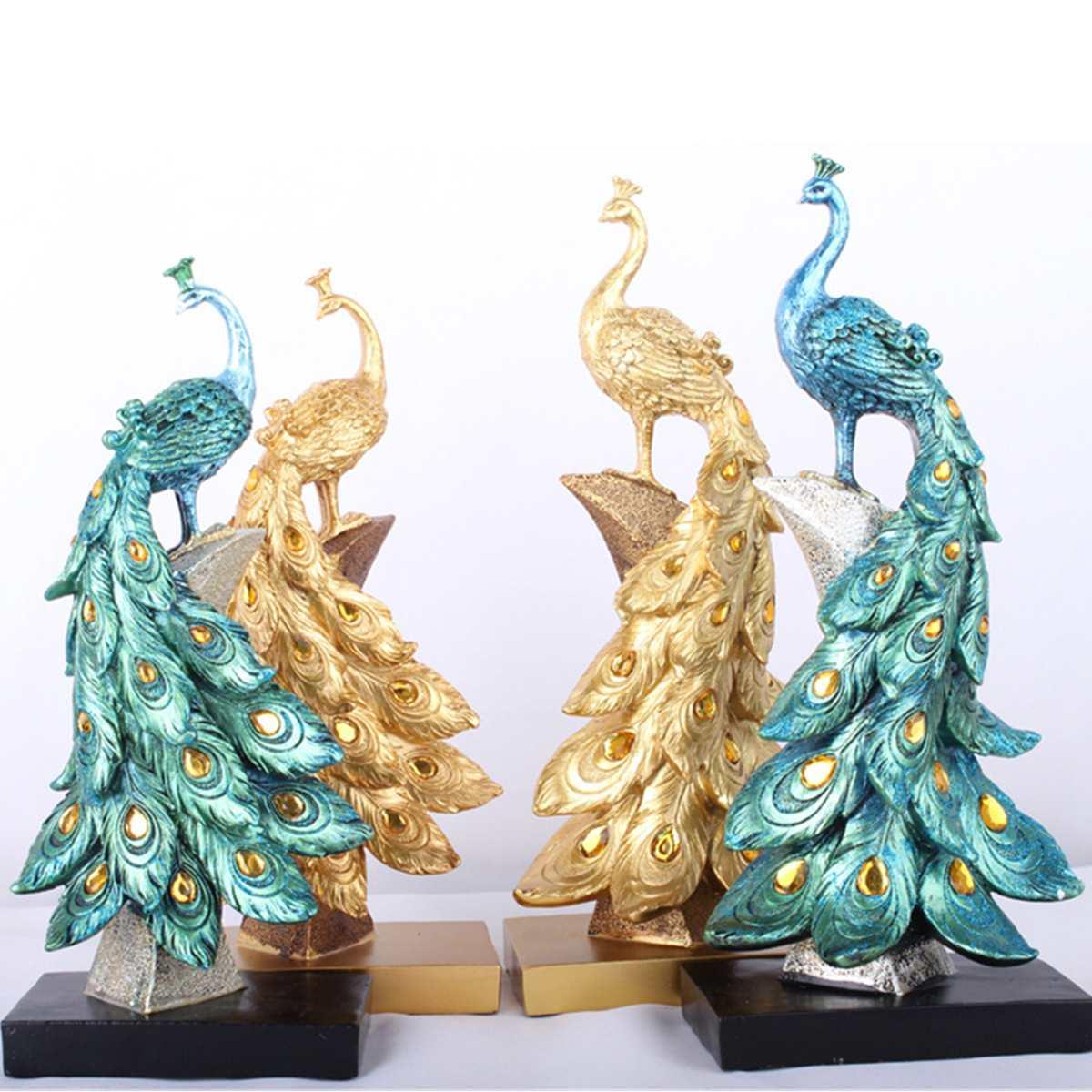 Exotic Peacock Resin Decoration Crafts Desktop Ornament Decorations Figurine Miniatures Statue Sculpture Home Decor