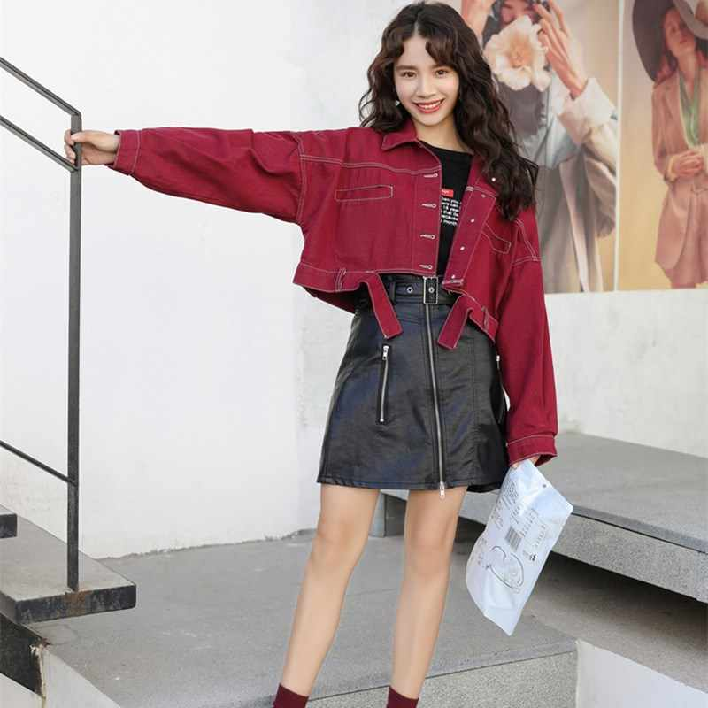 934e340bb37 ... 2018 Women Batwing Sleeve Loose Denim Jacket Solid Red Yellow Ripped Cropped  Denim Coats Short Jeans