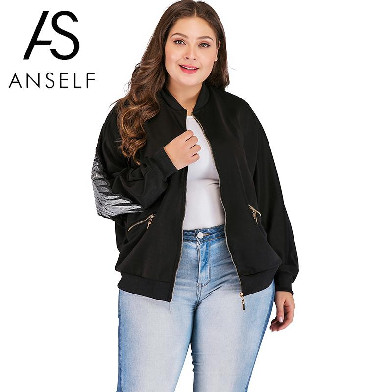 Fashion Bomber Jacket Women Plus Size Coat Feather Print Zipper Open Front Long Sleeve Oversize 3XL 4XL Loose Basic Jacket Black