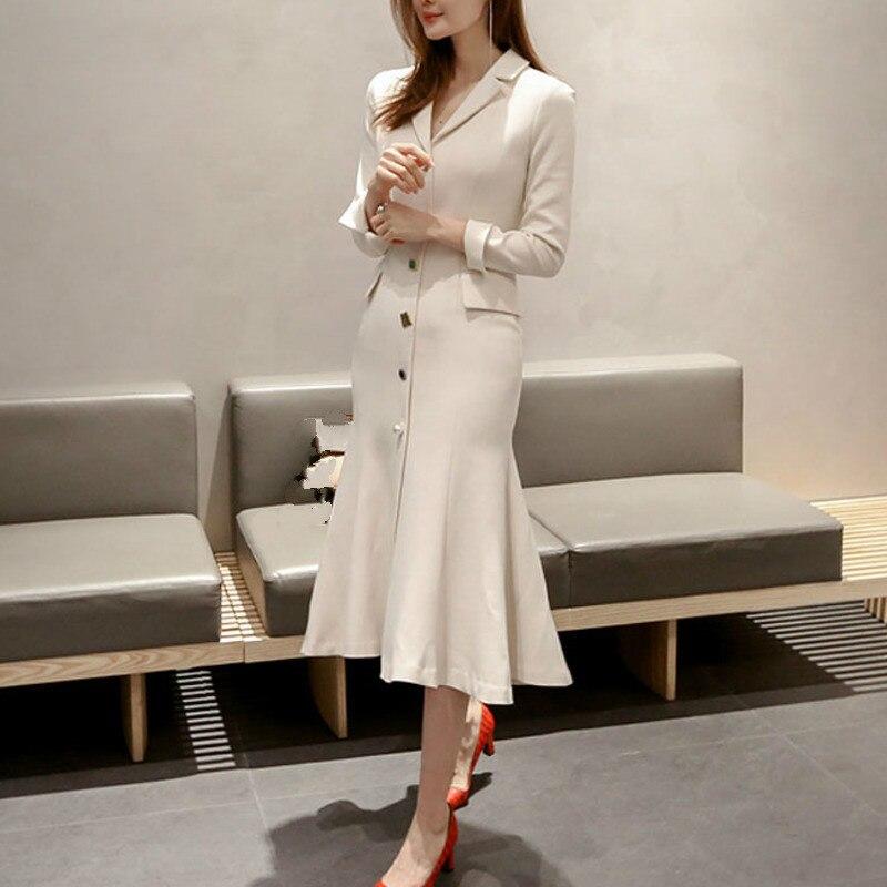 SHENGPALAE New Hot Spring Summer Women Clothes Notched Long Sleeve Korean Fashion 2019 Slim XL Office