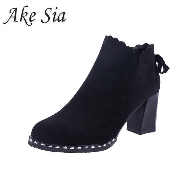 2019 winter new booties thick with high heel Female boots women's fashion simple round head comfortable boots y161