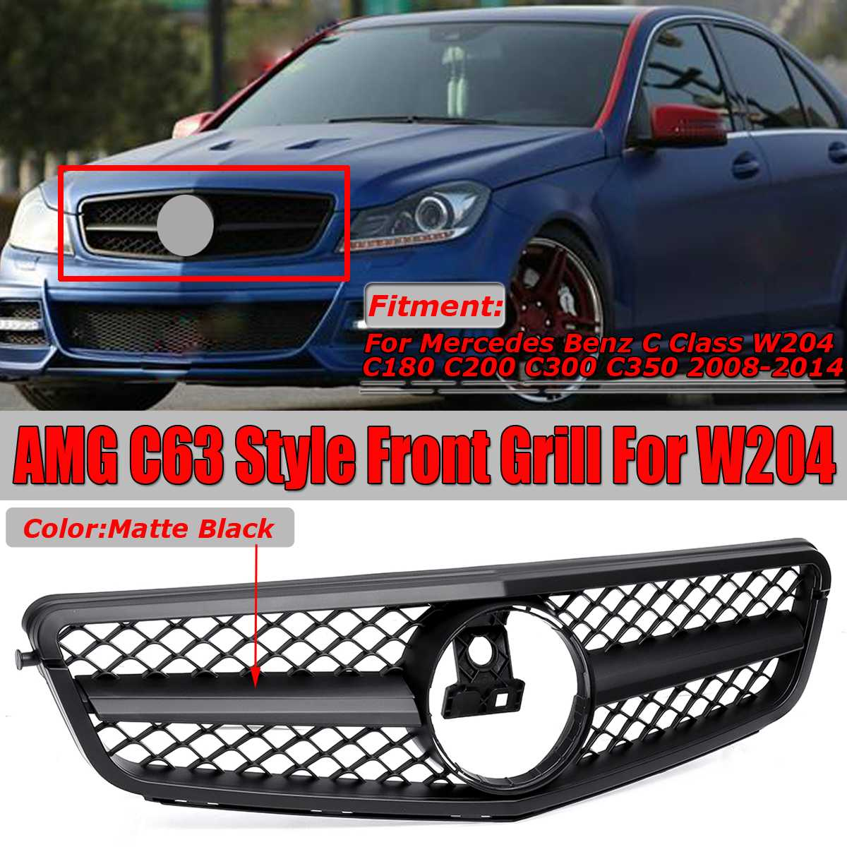 High Quality C63 For AMG Style Car Front Grille Grill For Mercedes For Benz C Class W204 C180 C200 C300 C350 08-14 Racing GrillsHigh Quality C63 For AMG Style Car Front Grille Grill For Mercedes For Benz C Class W204 C180 C200 C300 C350 08-14 Racing Grills