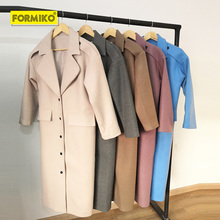 Formiko winter long loose woolen coat Lapel Solid Color Plush Long Ladies Wool Blend all-match Coat snap button Warm Trench