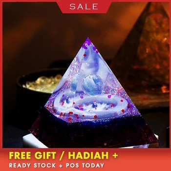 AURA REIKI Orgonite Marriage Pyramid Natural Crystal Resin Reiki Crafts Bring Lucky Stone Magic MineralCrystal Decoration Gift