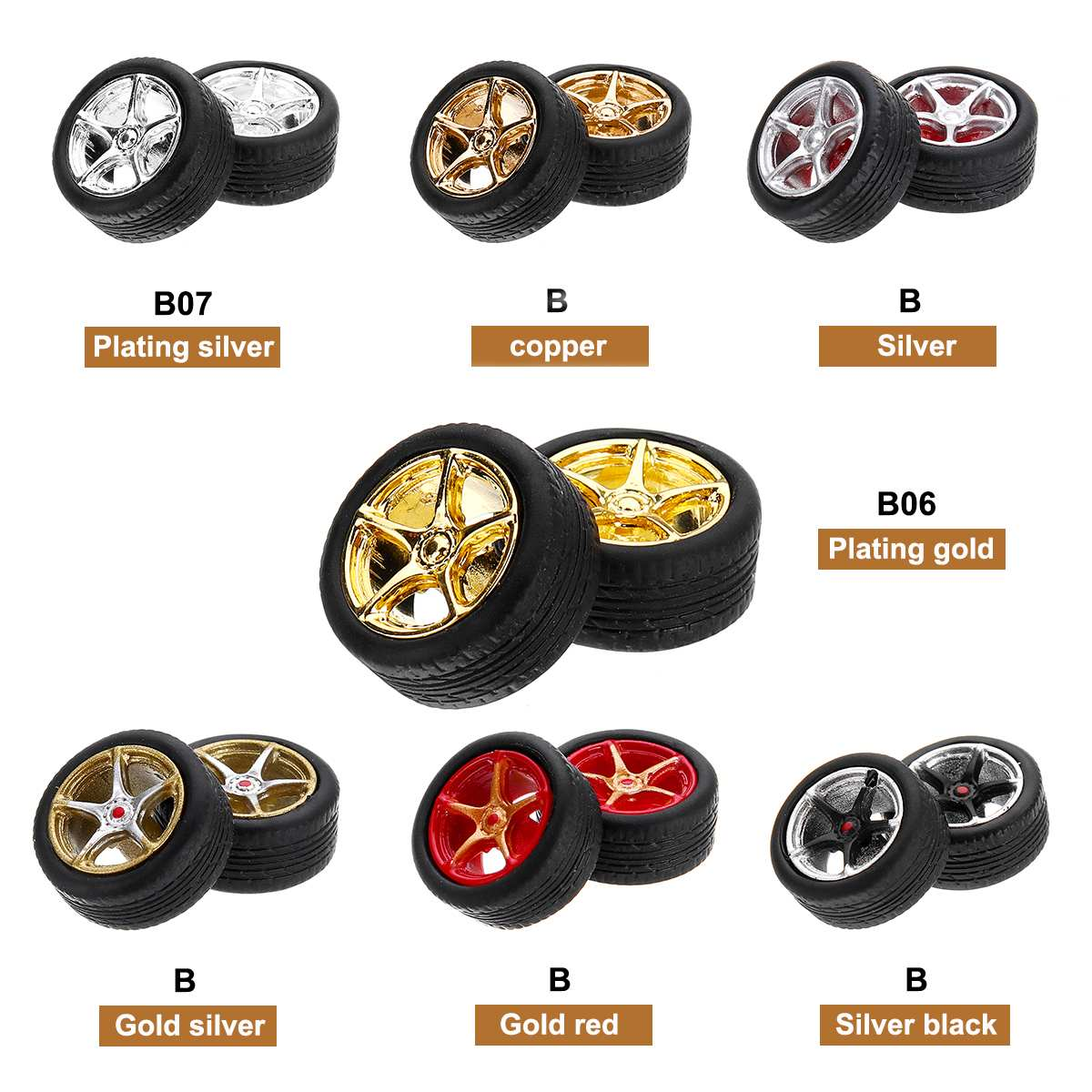 1:64 Car Wheels Tire Modified Vehicle Alloy Rubber Car Refit Wheels For 1/64 Cars Suitable 4 Wheels One Set DIY Assemble(China)