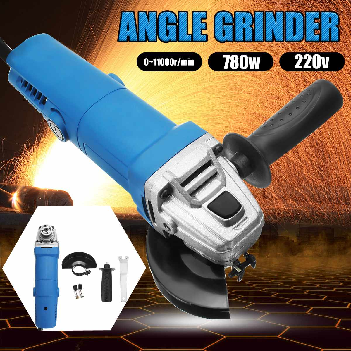 Portable 220V 780W Mini Electric Angle Grinder Side Handle Grinding Cutting Machine Drill Engraver Rotary For Metal Wood Working 8mm 10mm angle grinder auxiliary side handle electric drill grinding machine for rotary hammer power tools accessories w315