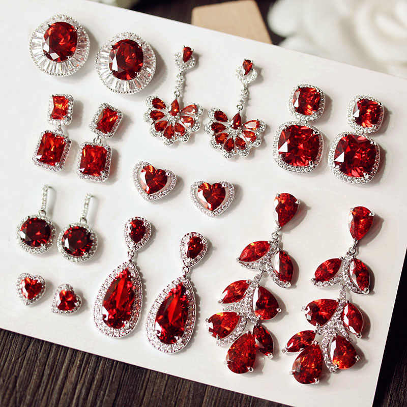 Luxury claret wine Red stone Long Drop Earrings Geometric Shape Big Square Cubic Zirconia women Party Wedding Jewelry Gift