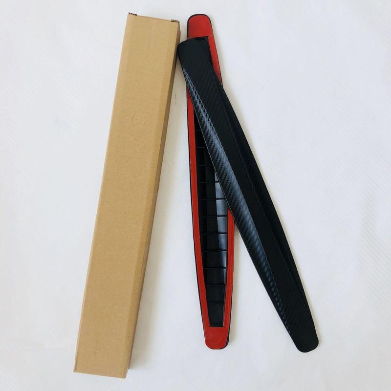 4pcs 14*3*1.5cm Car Carbon Fiber Anti Rub Strip Bumper Body Corner Protector Guard Door Decor