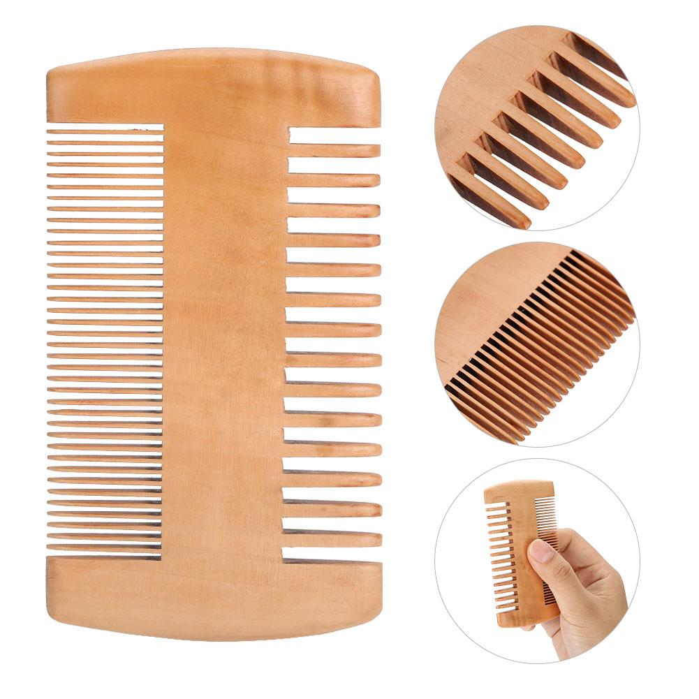 Wooden Beard Comb Anti Static Wood Pocket Comb With Double-end Fine And Coarse Teeth