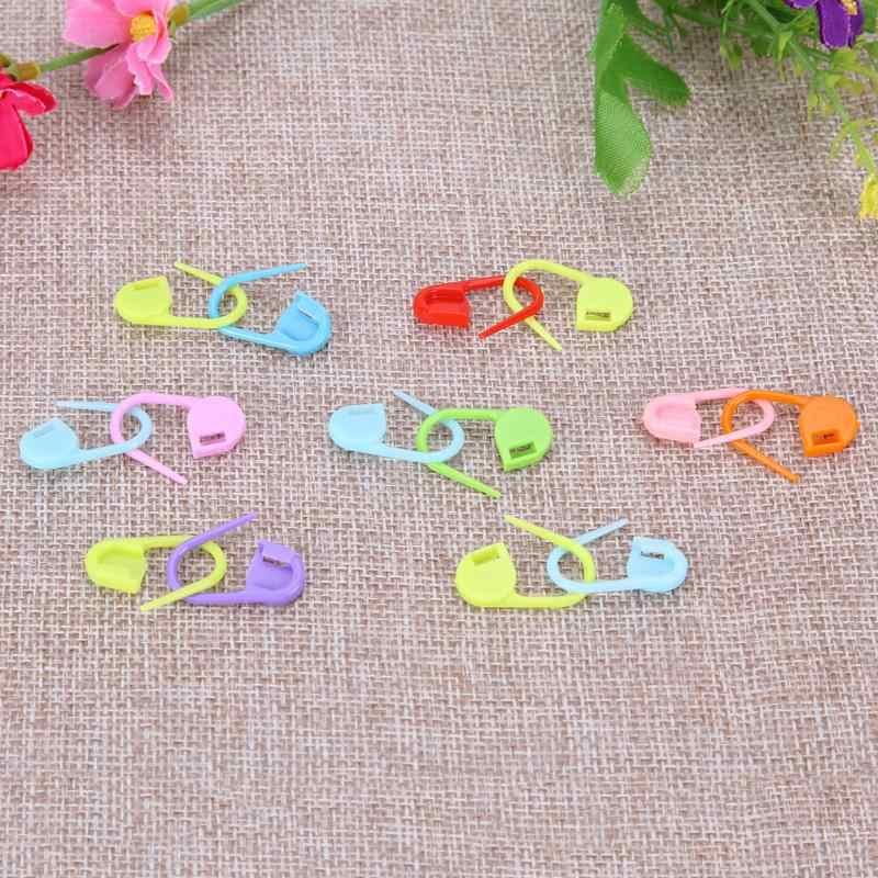 100 Pcs Manis Berwarna Plastik Rajut Jarum Crochet Penguncian Stitch Spidol Crochet Kait Rajut Alat Jarum Klip
