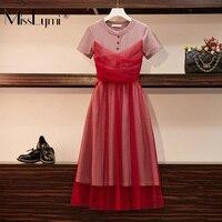 L 4XL Plus Size Women French Vintage Elegant Midi Dress Summer 2019 Short Sleeve Knitted Cotton Patchwork Sexy Mesh Dresses