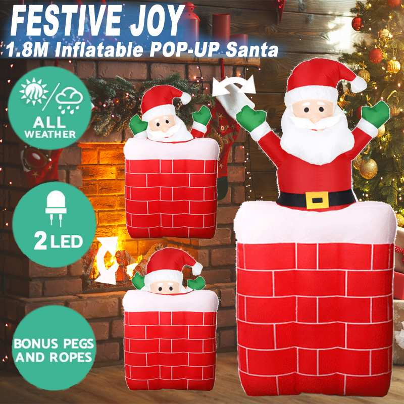 LED Inflatable Santa Claus Snowman Elk Christmas Ornament Yard Garden Home New Year Party Decoration Gift For Kids