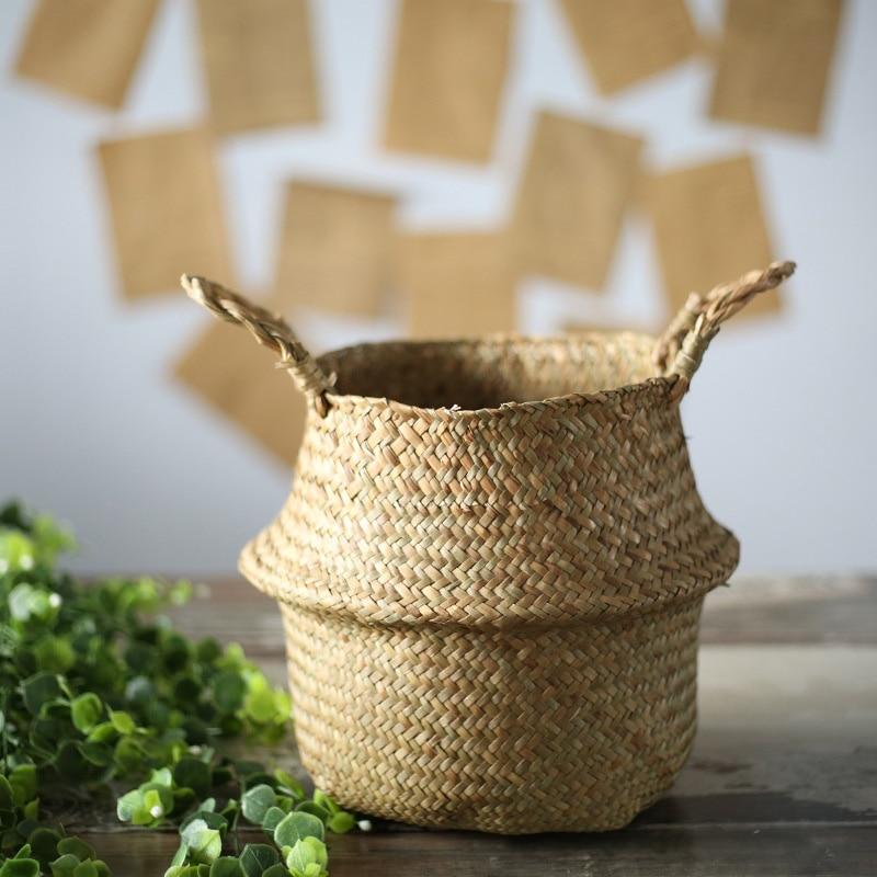 AFBC Seagrass Wickerwork Basket Rattan Foldable Hanging Flower Pot Planter Woven Dirty Laundry Hamper Storage Basket Home Deco