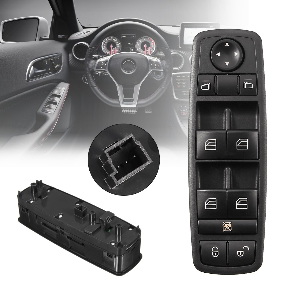 for Benz B-Class W245 2005-2011 A-Class W169 2004-2012 Black Electric Power Car Power Window Control Master Switch <font><b>A1698206610</b></font> image