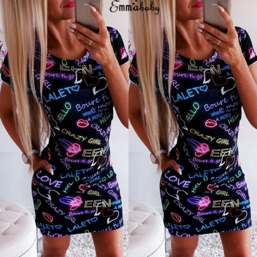 2019 Women Letter Print Heart O-Neck Slim Blue Bandage Bodycon Short Sleeve Evening Party Club Wear Short Mini Casual Dress
